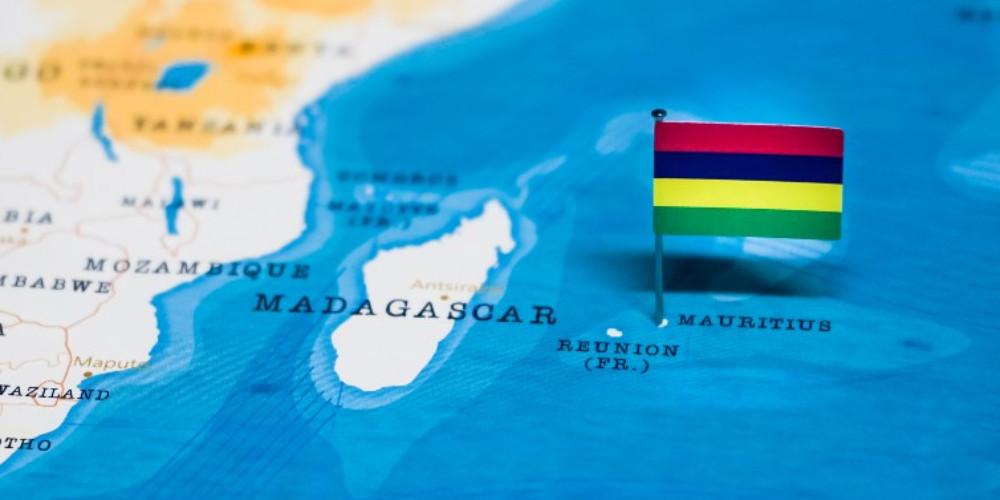 Флаг Маврикия на карте мира