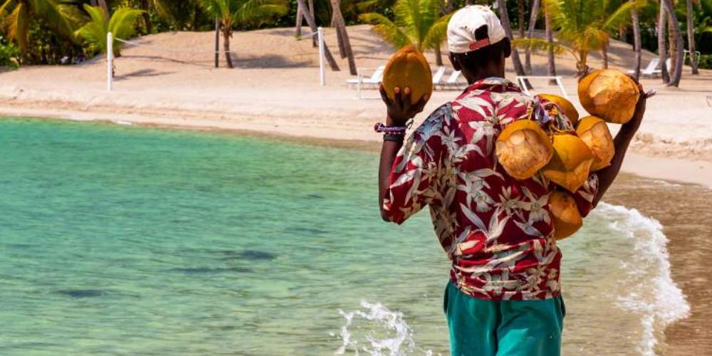Кокосовый орех на знаменитом пляже Хуан Долио